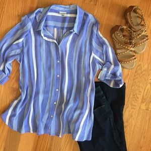 Blue Striped Button Down Blouse SemiSheer 18/20